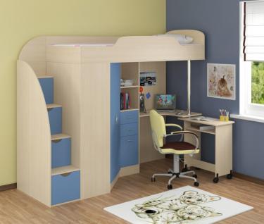 Кровать-чердак Теремок 1 Гранд голубой