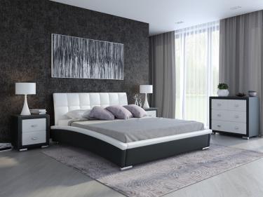Кровать Corso-1 (Экокожа Черный с белым)