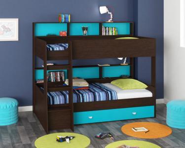 Двухъярусная кровать Golden Kids-1 (венге/голубой)