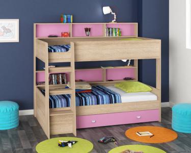 Двухъярусная кровать Golden Kids-1 (дуб сонома/розовый)