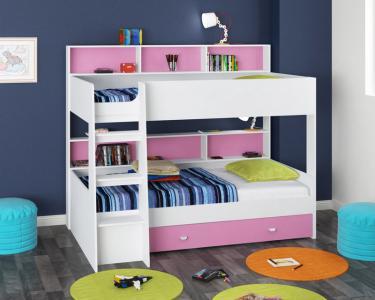 Двухъярусная кровать Golden Kids-1 (белый/розовый)