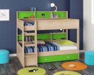 Двухъярусная кровать Golden Kids-1 (дуб сонома/зеленый)