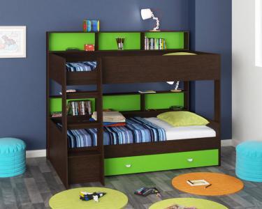 Двухъярусная кровать Golden Kids-1 (венге/зеленый)