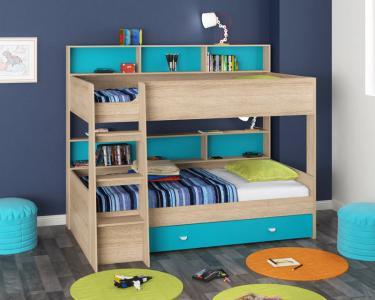 Двухъярусная кровать Golden Kids-1 (дуб сонома/голубой)
