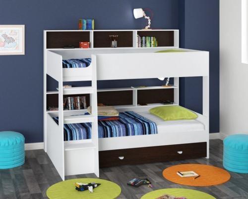 Двухъярусная кровать Golden Kids-1 (белый/венге)