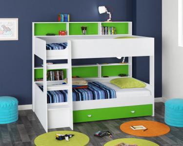Двухъярусная кровать Golden Kids-1 (белый/зеленый)