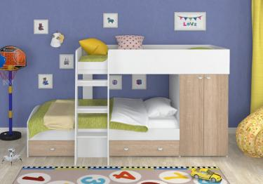 Двухъярусная кровать Golden Kids-2 (белый/дуб сонома)