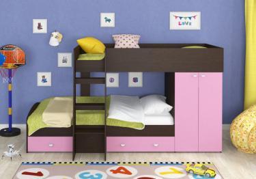 Двухъярусная кровать Golden Kids-2 (венге/розовый)