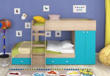 Двухъярусная кровать Golden Kids-2 (дуб сонома/голубой)