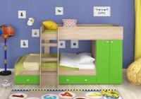 Двухъярусная кровать Golden Kids-2 (дуб сонома/зеленый)