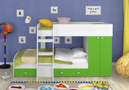 Двухъярусная кровать Golden Kids-2 (белый/зеленый)