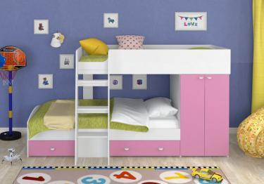 Двухъярусная кровать Golden Kids-2 (белый/розовый)