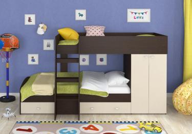 Двухъярусная кровать Golden Kids-2 (венге/бежевый)