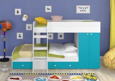 Двухъярусная кровать Golden Kids-2 (белый/голубой)