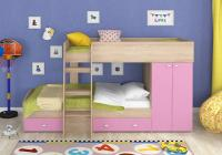 Двухъярусная кровать Golden Kids-2 (дуб сонома/розовый)