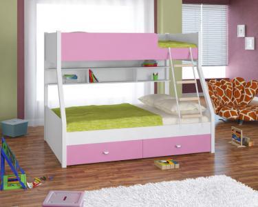Двухъярусная кровать Golden Kids-3 (белый/розовый)