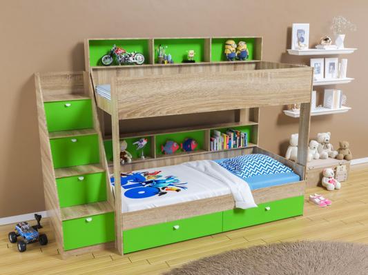 Двухъярусная кровать Golden Kids 10 (дуб сонома/зеленый)
