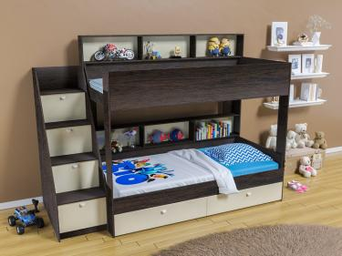 Двухъярусная кровать Golden Kids 10 (венге/бежевый)