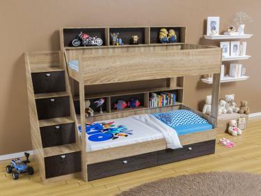 Двухъярусная кровать Golden Kids 10 (дуб сонома/венге)