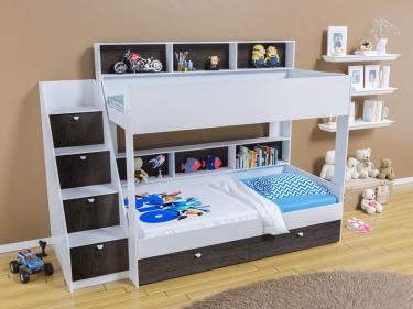 Двухъярусная кровать Golden Kids 10 (белый/венге)