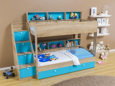 Двухъярусная кровать Golden Kids 10 (дуб сонома/голубой)