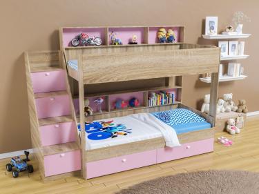 Двухъярусная кровать Golden Kids 10 (дуб сонома/розовый)