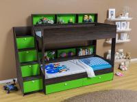 Двухъярусная кровать Golden Kids 10 (венге/зеленый)