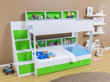 Двухъярусная кровать Golden Kids 10 (белый/зеленый)