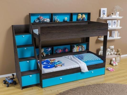 Двухъярусная кровать Golden Kids 10 (венге/голубой)