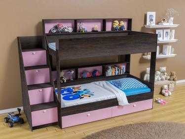 Двухъярусная кровать Golden Kids 10 (венге/розовый)
