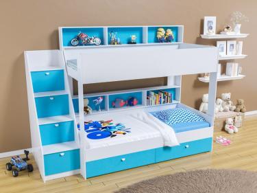Двухъярусная кровать Golden Kids 10 (белый/голубой)