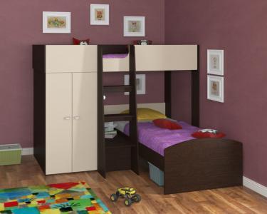Двухъярусная кровать Golden Kids 4 (венге/бежевый)