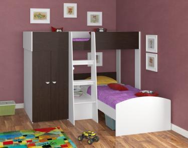 Двухъярусная кровать Golden Kids 4 (белый/венге)