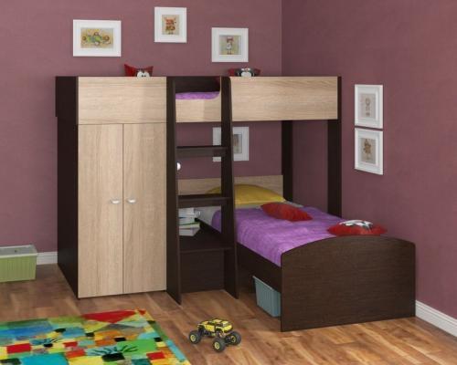 Двухъярусная кровать Golden Kids 4 (венге/дуб сонома)