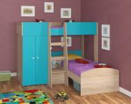Двухъярусная кровать Golden Kids 4 (дуб сонома/голубой)