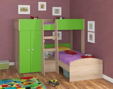 Двухъярусная кровать Golden Kids 4 (дуб сонома/зеленый)
