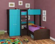 Двухъярусная кровать Golden Kids 4 (венге/голубой)