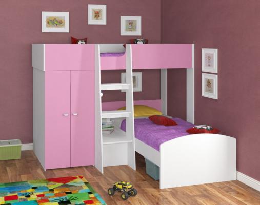 Двухъярусная кровать Golden Kids 4 (белый/розовый)