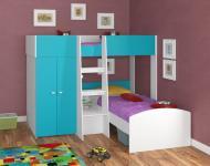 Двухъярусная кровать Golden Kids 4 (белый/голубой)
