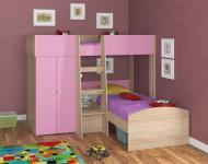 Двухъярусная кровать Golden Kids 4 (дуб сонома/розовый)