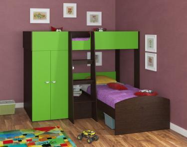 Двухъярусная кровать Golden Kids 4 (венге/зеленый)