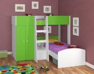 Двухъярусная кровать Golden Kids 4 (белый/зеленый)