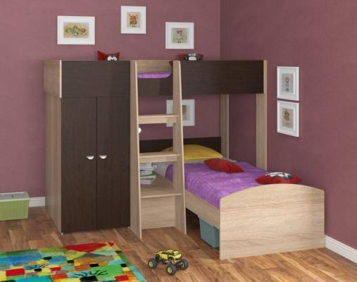 Двухъярусная кровать Golden Kids 4 (дуб сонома/венге)