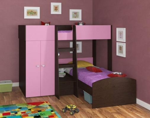 Двухъярусная кровать Golden Kids 4 (венге/розовый)