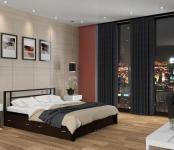 Двуспальная кровать Титан черный с ящиками