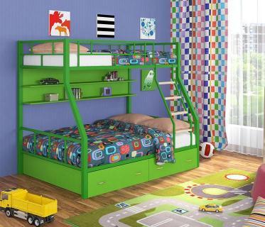 Двухъярусная кровать Радуга зеленый