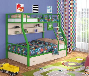 Двухъярусная кровать Радуга зеленый/дуб молочный