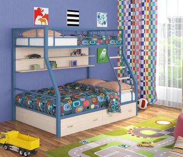 Двухъярусная кровать Радуга голубой/дуб молочный