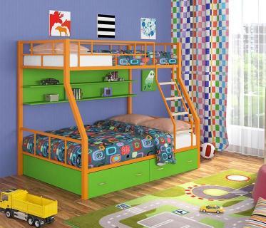 Двухъярусная кровать Радуга оранжевый/зеленый