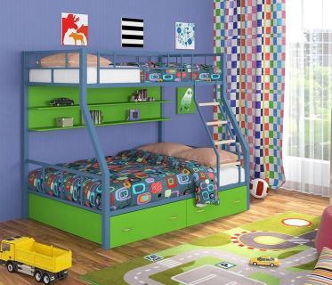 Двухъярусная кровать Радуга голубой/зеленый